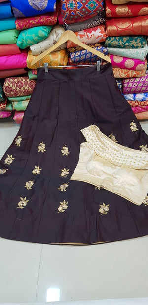 Brown Silk Indian Fashion Lahnga Design With Crop Top