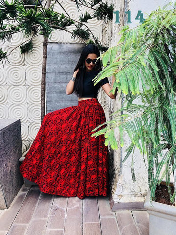 Red Digital Printed Banglori Satin Latest Crop Top Lehenga Dress Online