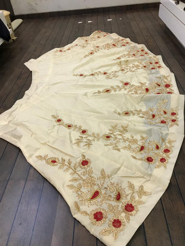 Light Beige Taffeta Silk Embroidered Latest Design Choli And Lehenga