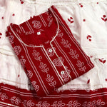 Rutba Khan Red Cotton Printed Latest Kurti Skirts Indian Suit Designs