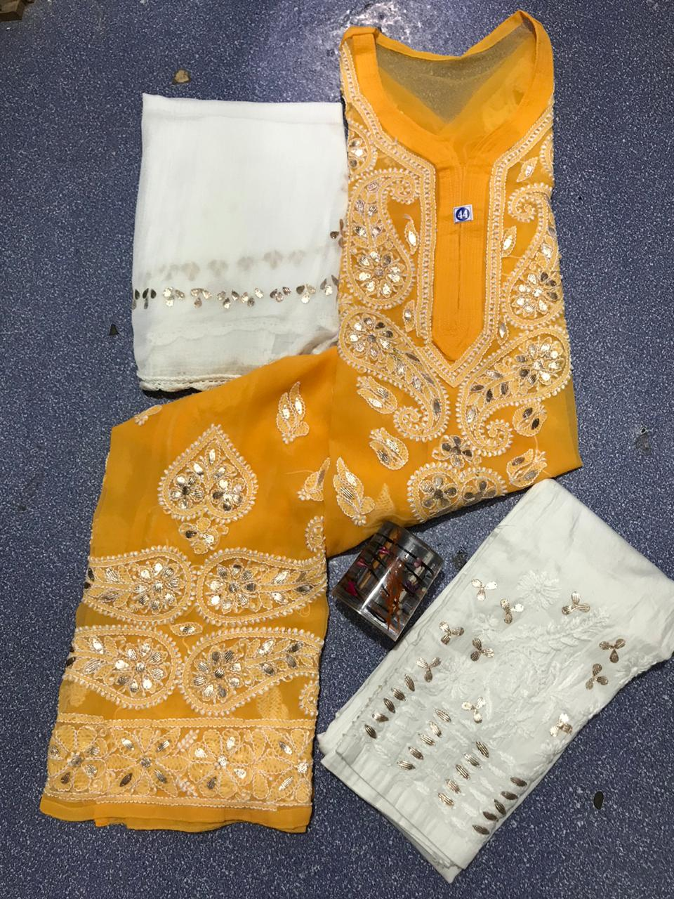 Bright Yellow Chikankari Kurti 3 pc set Georgette Gota patti Combo