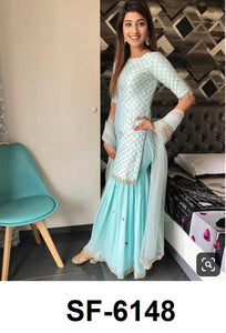 Pastel Blue Satin Silk Latest Party Wear Sharara Suits Online Shopping