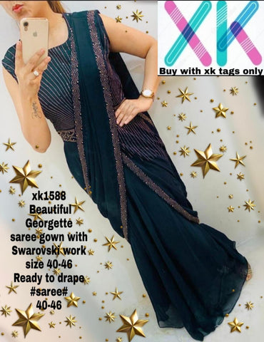 Teal Georgette Ready To Wear New Ladies Fashion Gown Sarees