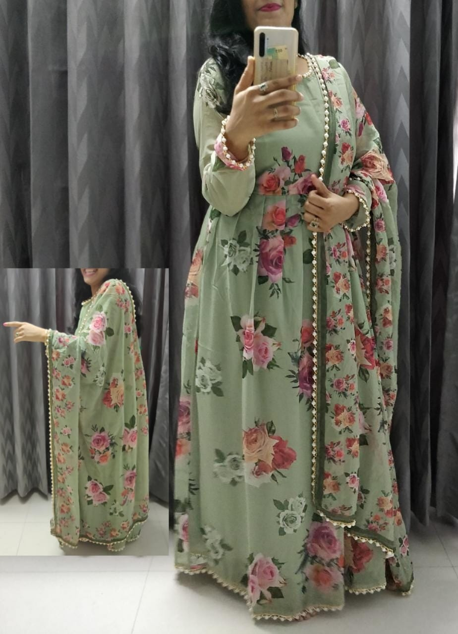 Sage Green Georgette Floral Print Gown Style Anarkali Dress Online