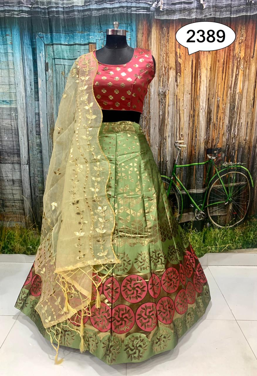 Light Green Gold Color Banarasi Fabric Lehenga Choli Online