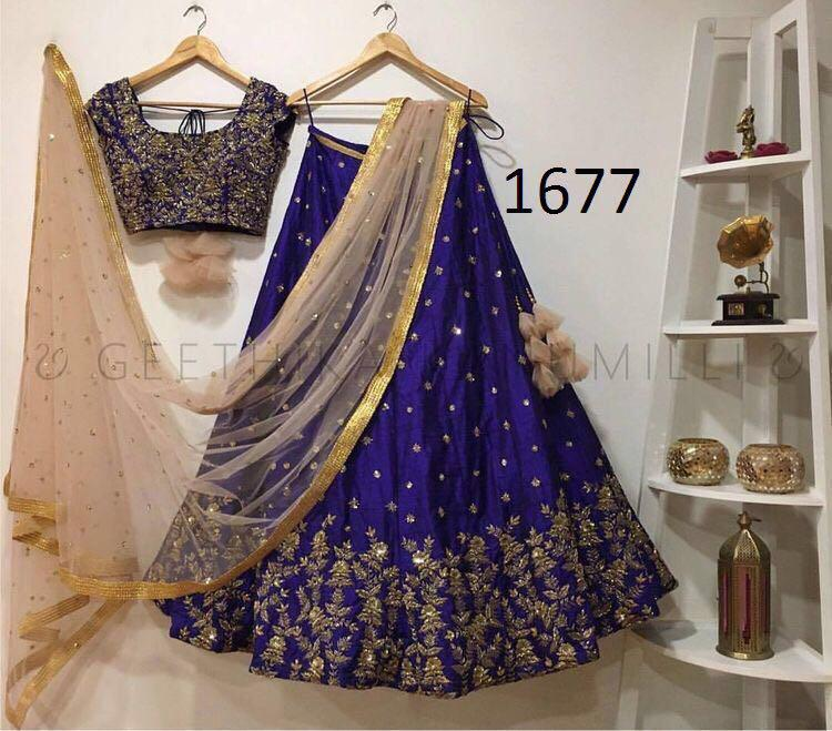 Blue Taffeta Silk Embroidered Low Price New Indian Lehenga Designs