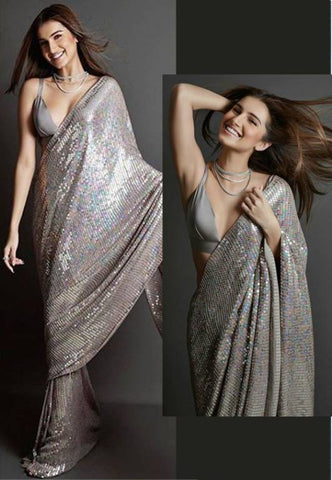 Grey Sequined Georgette Latest Party Wear Online Shopping Sites For Sarees