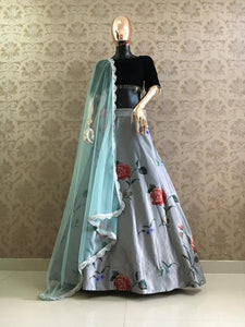 Grey Satin Digital Print Lehenga Suit Online Shopping
