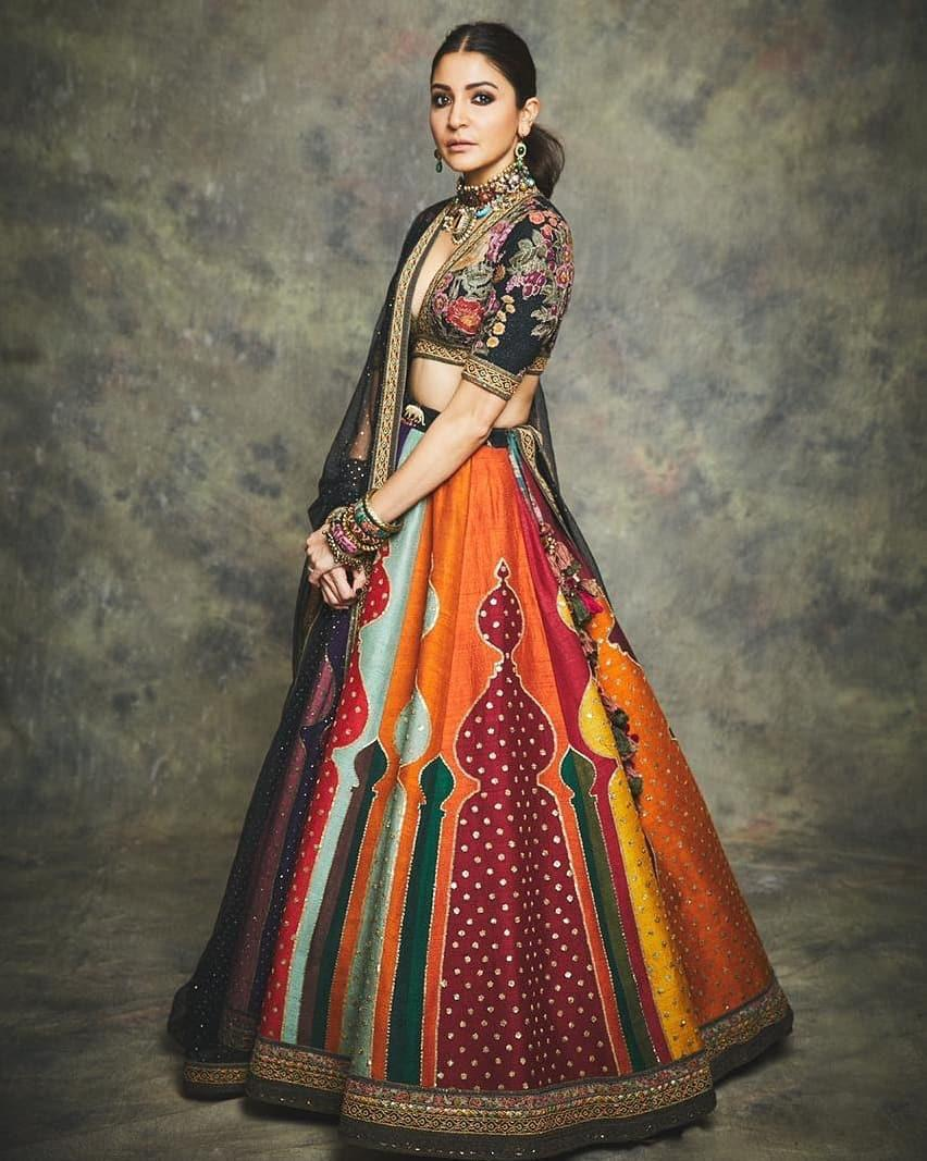 Multi Color Printed Zari Silk Anushka Sharma Replica Lehenga Online