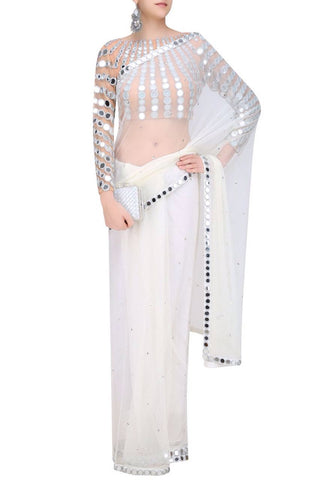 White Mirror Work Georgette Sarees Online India