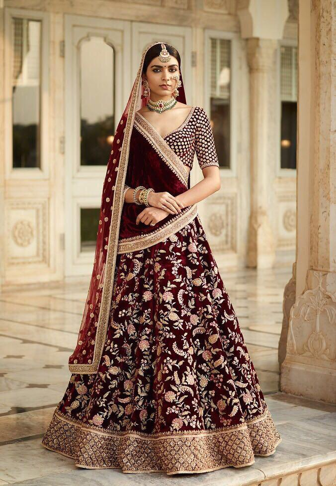 Maroon Embroidered Velvet Indian Bridal Wedding Lehenga Online