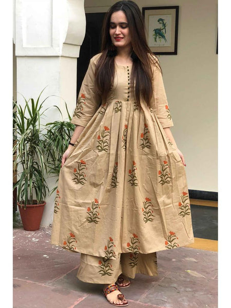Rutba Khan Beige Cotton Printed Salwar Kurta Online Shopping