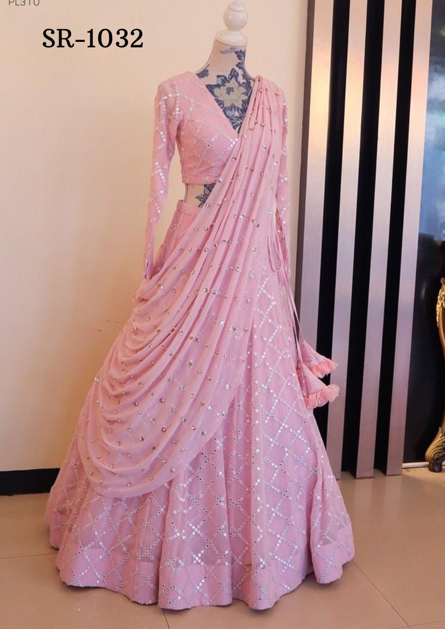 Pink Taffeta Silk Embroidered Beautiful Party Lehenga Blouse Online