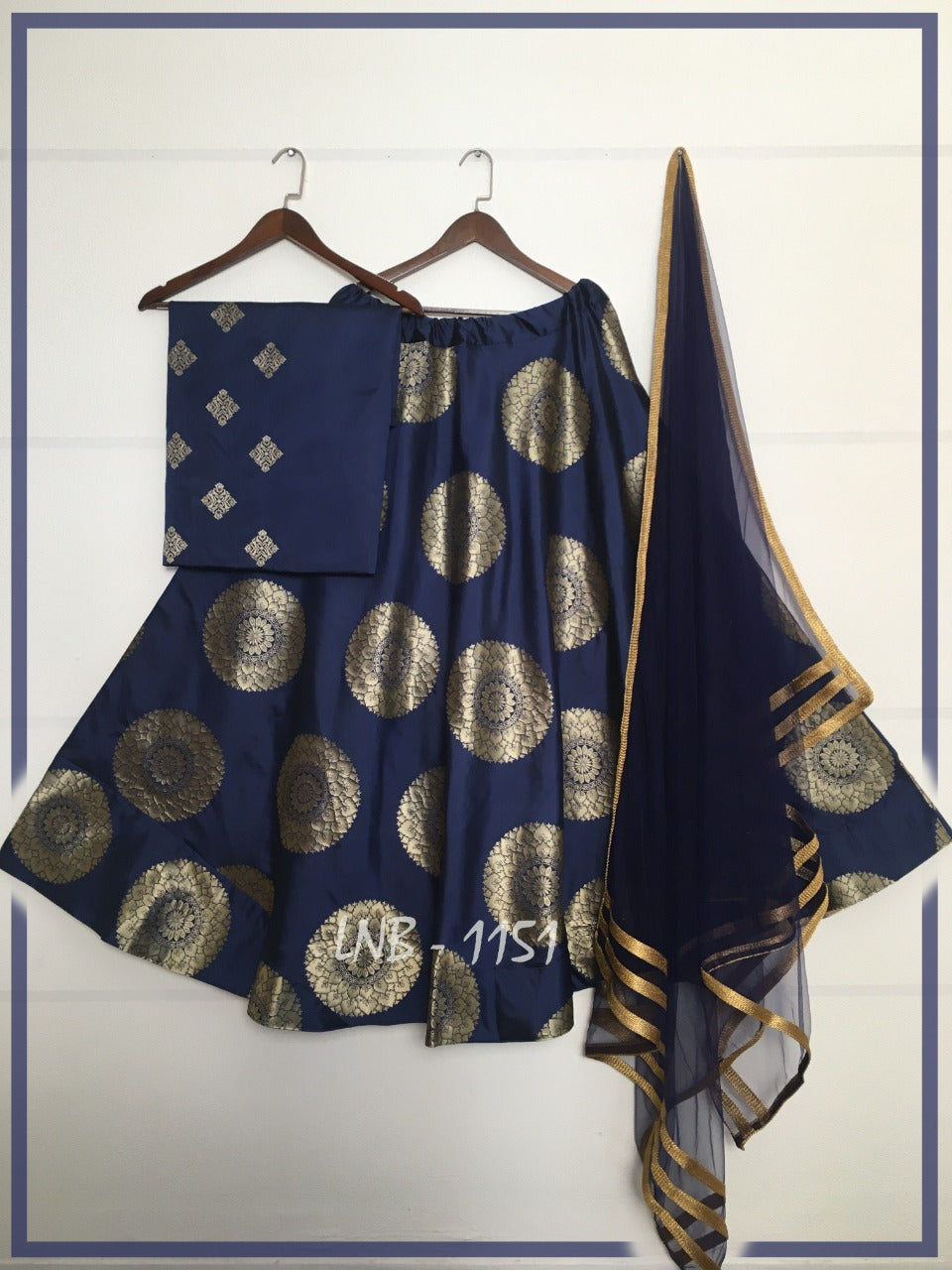 Navy Blue Jacquard Banarasi Silk Latest Lehenga Choli Online