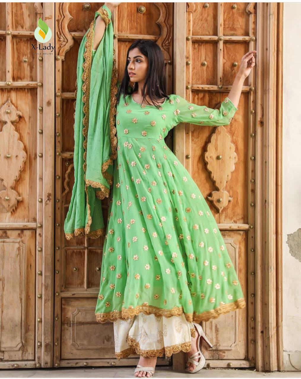 Green Georgette Latest Fashion Kurti Palazzo Suits Online Buy