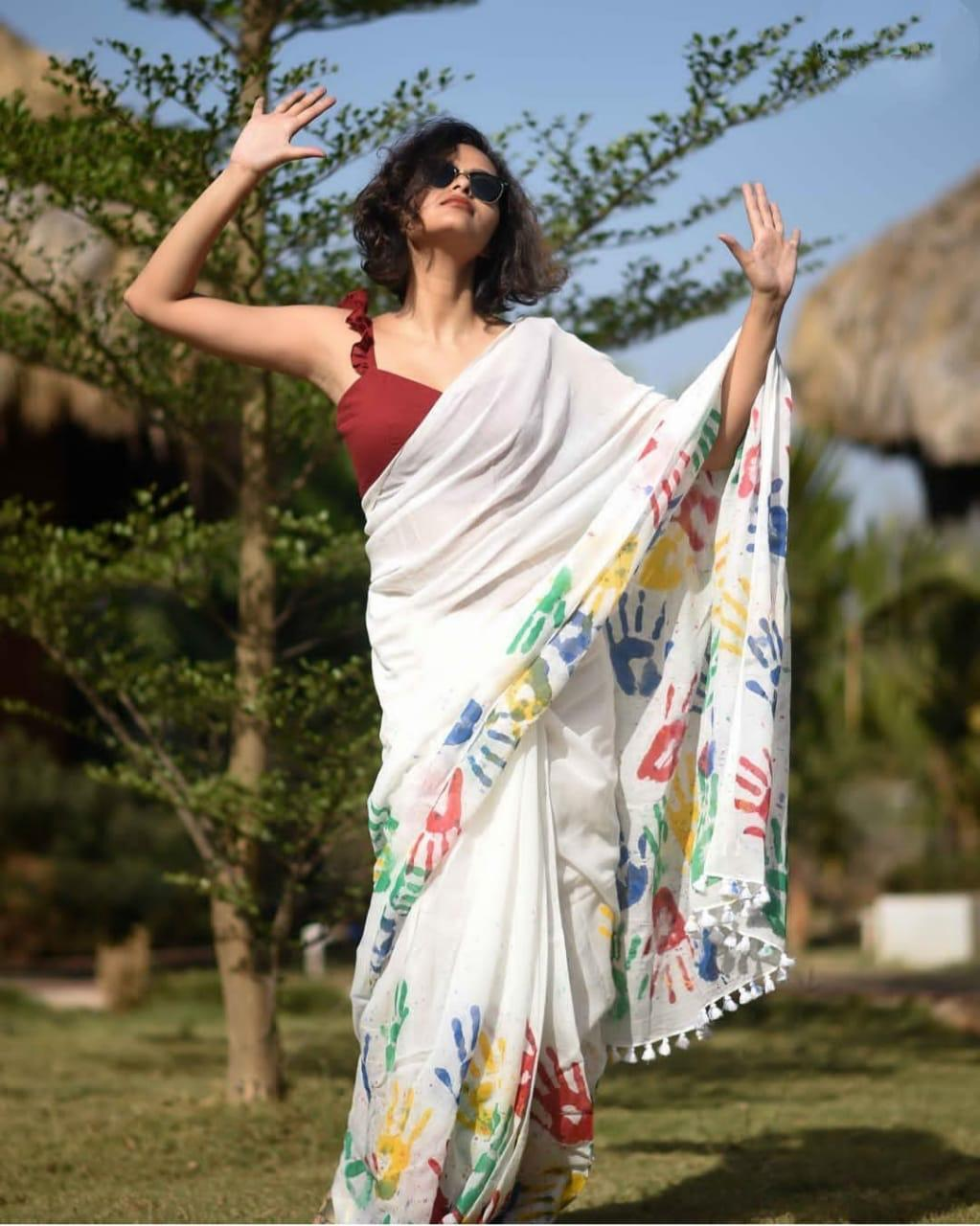 White Crepe Digital Printed Colorful Holi Saree Online