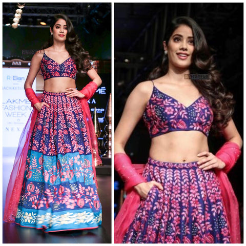 Janhvi Kapoor Blue Digital Printed Party Wear Lehenga Online
