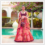 Red Organza Digital Printed Lehenga Choli Online Shopping