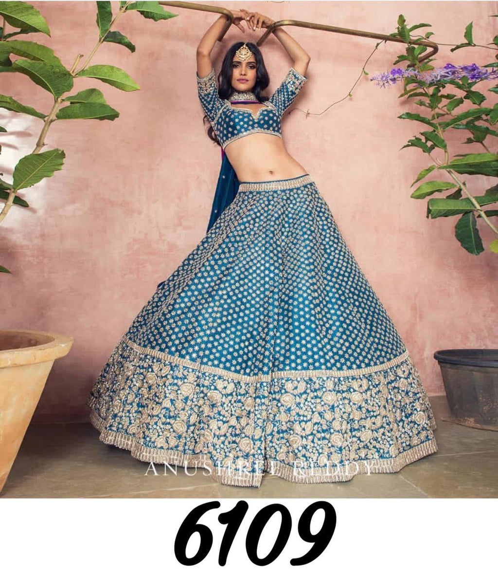 Teal Banglori Silk Embroidered New Lehenga Design Online