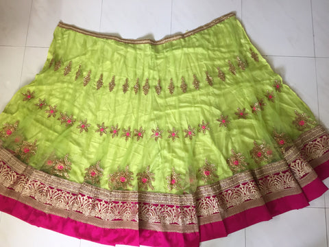 Parrot Green And Rani Pink Net Georgette Bollywood Lengha Choli ,Indian Dresses - 2