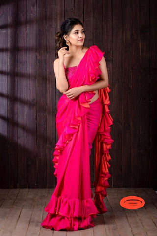 Stylish Hot Pink Barfi Silk With Ruffle Saree Blouse India Online