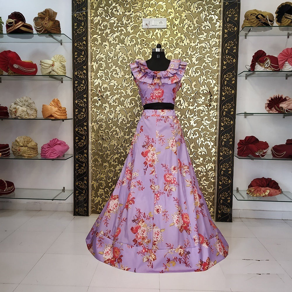 Lilac Floral Printed Taffeta Silk Latest Lehenga Blouse Online Shopping