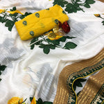 Off White Silk Digital Floral Print Ladies Saree Shopping Online India