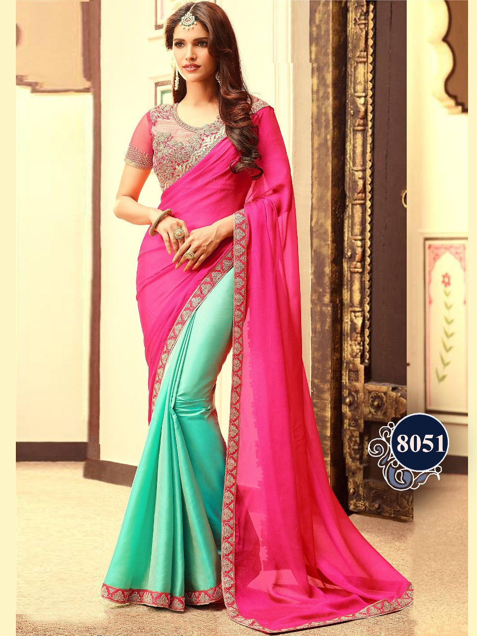 Aqua Green And Pink Designer Sarees Online India