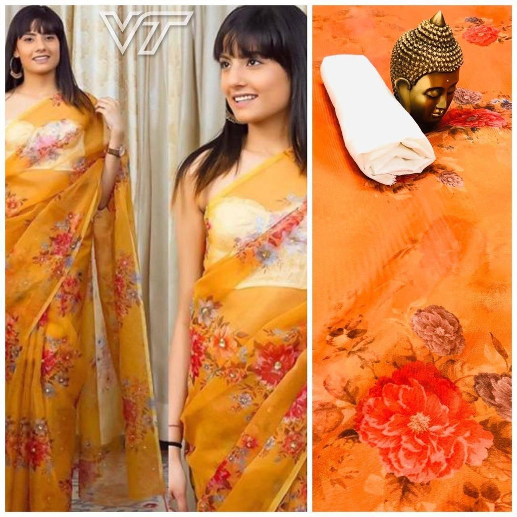 Mustard Yellow Digital Printed Latest Organza Saree and Blouse Set