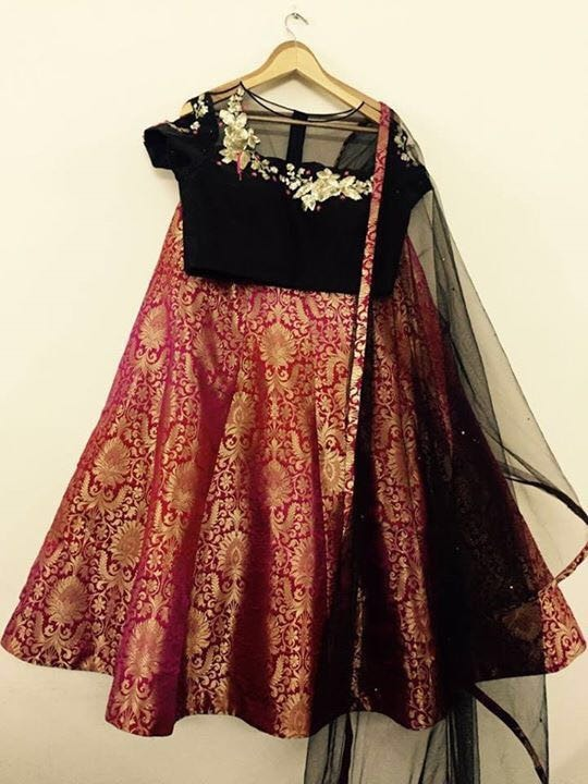 Pure Brocade Red Color Indian Designer Lehenga Online Store