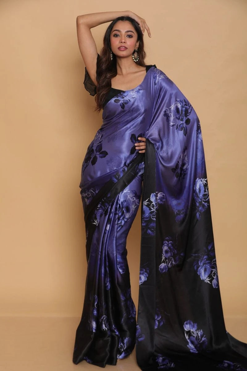 Purple And Black Floral Print Satin Silk Online Saree India