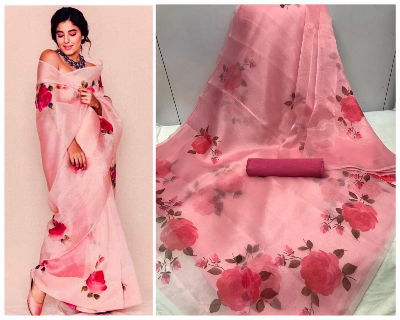Hotselling Pink Floral Digital Printed Latest Organza Saree and Blouse Set
