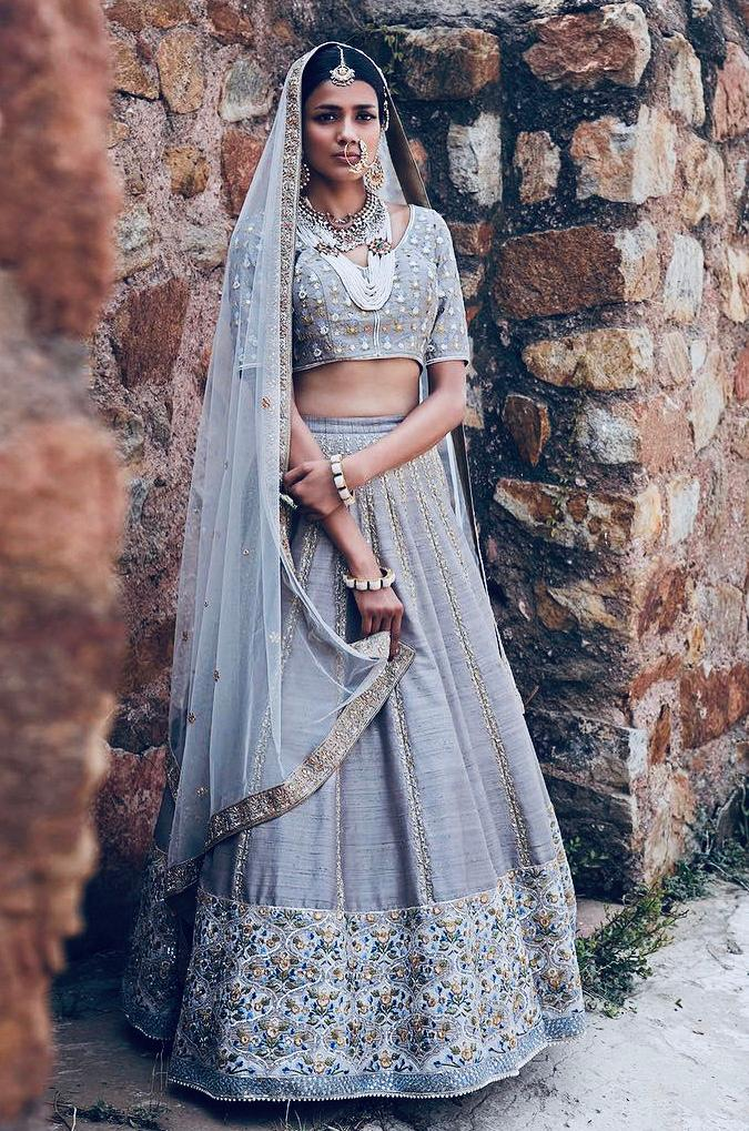 Still Grey Mulberry Silk Embroidered New Indian Ghagra Choli Designs