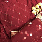 Maroon 3 Pc Kurti Pallazo with Embroidery Work and Sequins work Dupatta