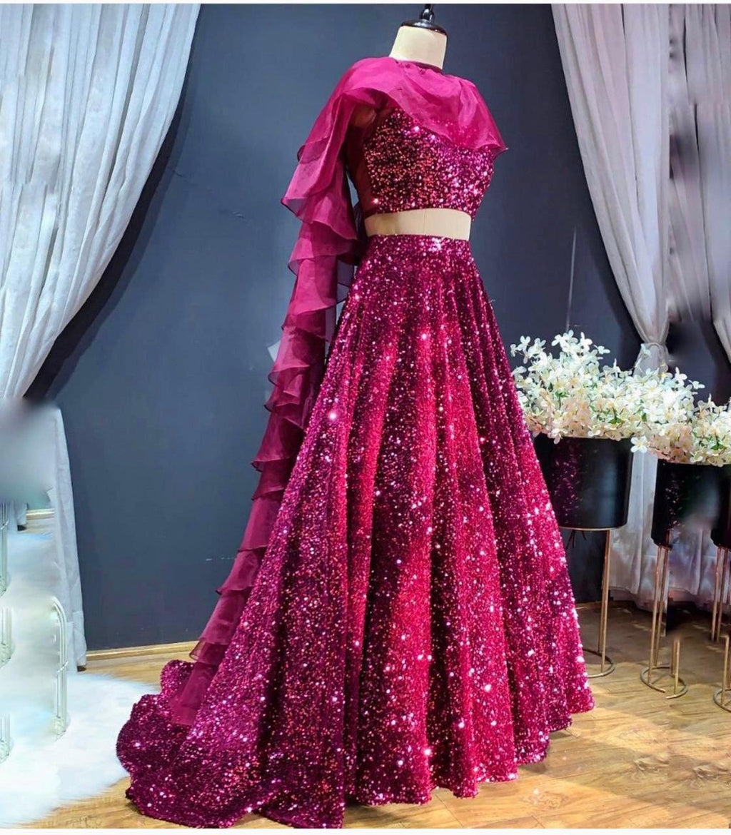 Beautiful Pink High Quality Sequins Lehenga Choli with Ruffle Style Dupatta