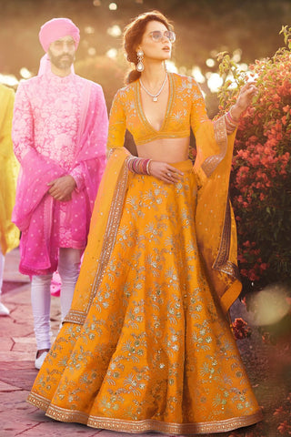 Mustard Yellow Thai Silk  Party Wear Lehenga Dress Online Shopping