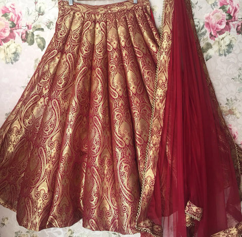 Maroon Brocade Bollywood Lehenga Choli Online Shopping