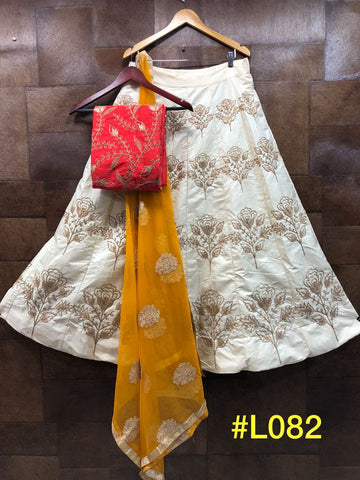 Off White Embroidered Mulberry Silk Latest Indian Lehenga Choli Online