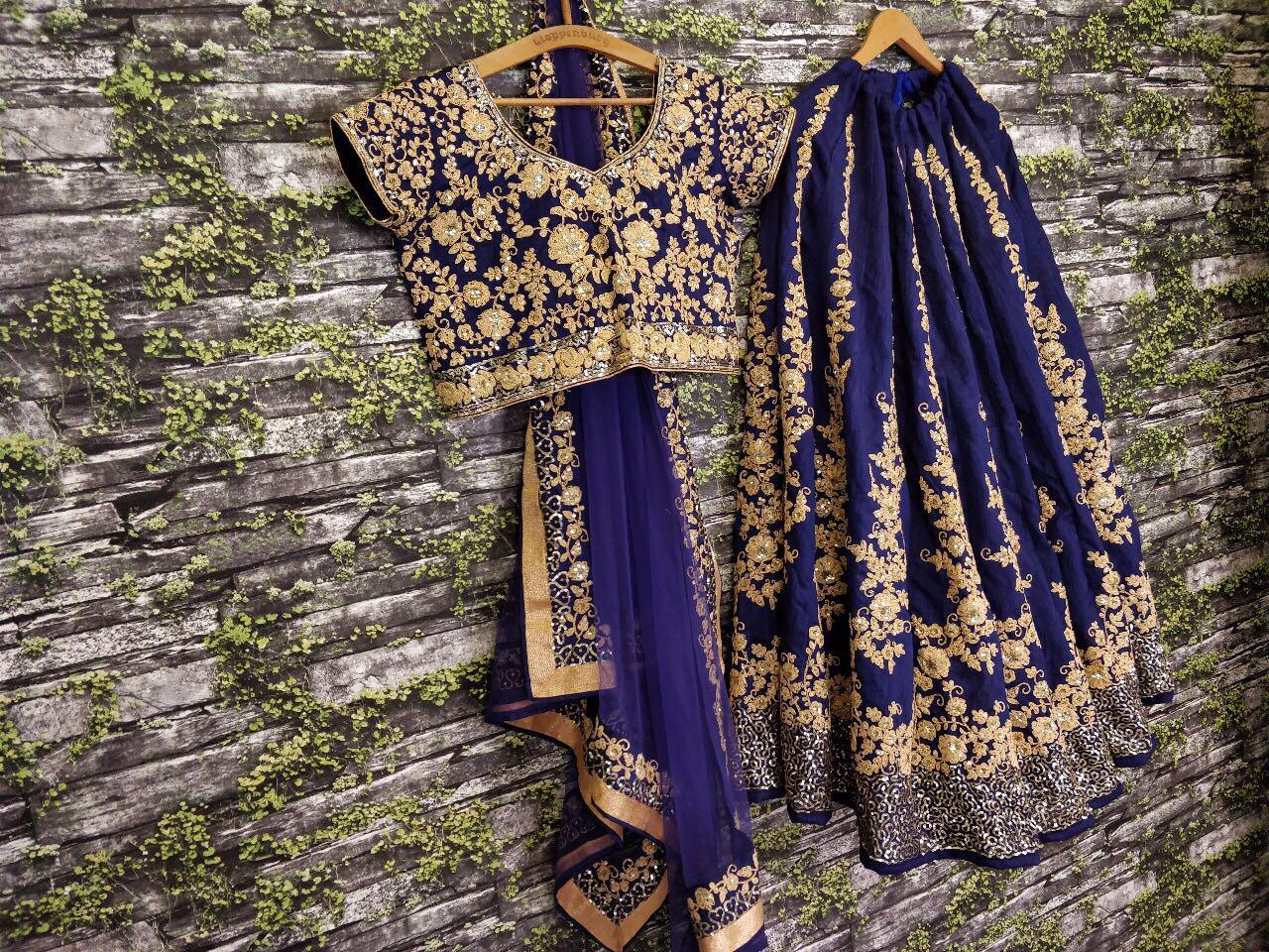 Navy Blue Embroidery Raw Silk  Wedding Lehenga Cholis