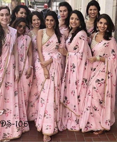 Pink Georgette Digital Floral Printed New Saree For Party Wear