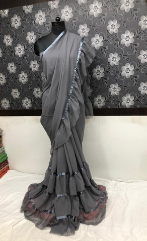 Lovely Grey Georgette Party Wear Ruffle Saree From India
