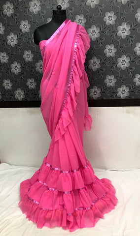 Charming Pink Georgette Ruffled Party Wear Ladies Fashion Sarees