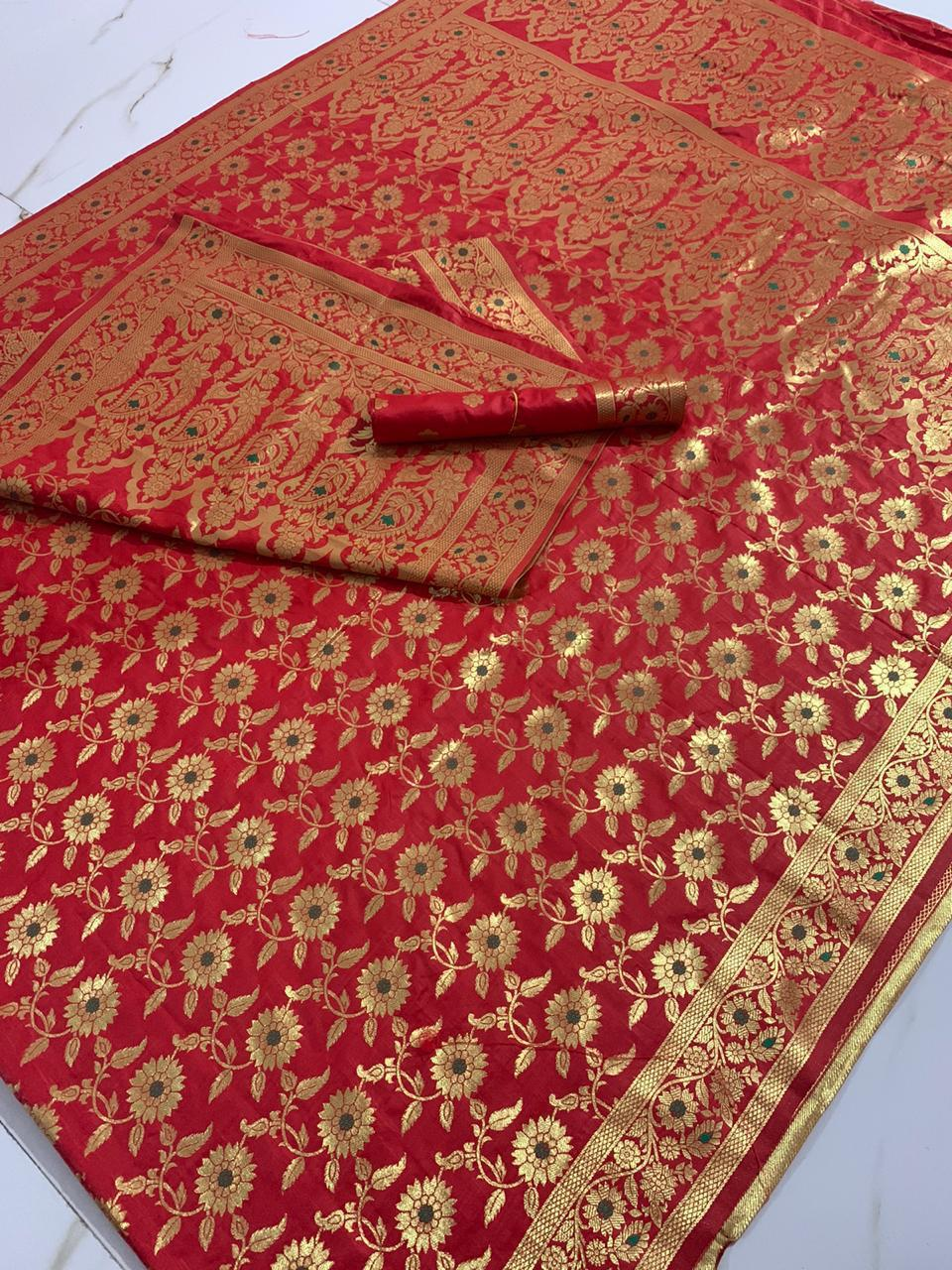 Red Banarasi Silk Party Wear Traditional Sarees With Price