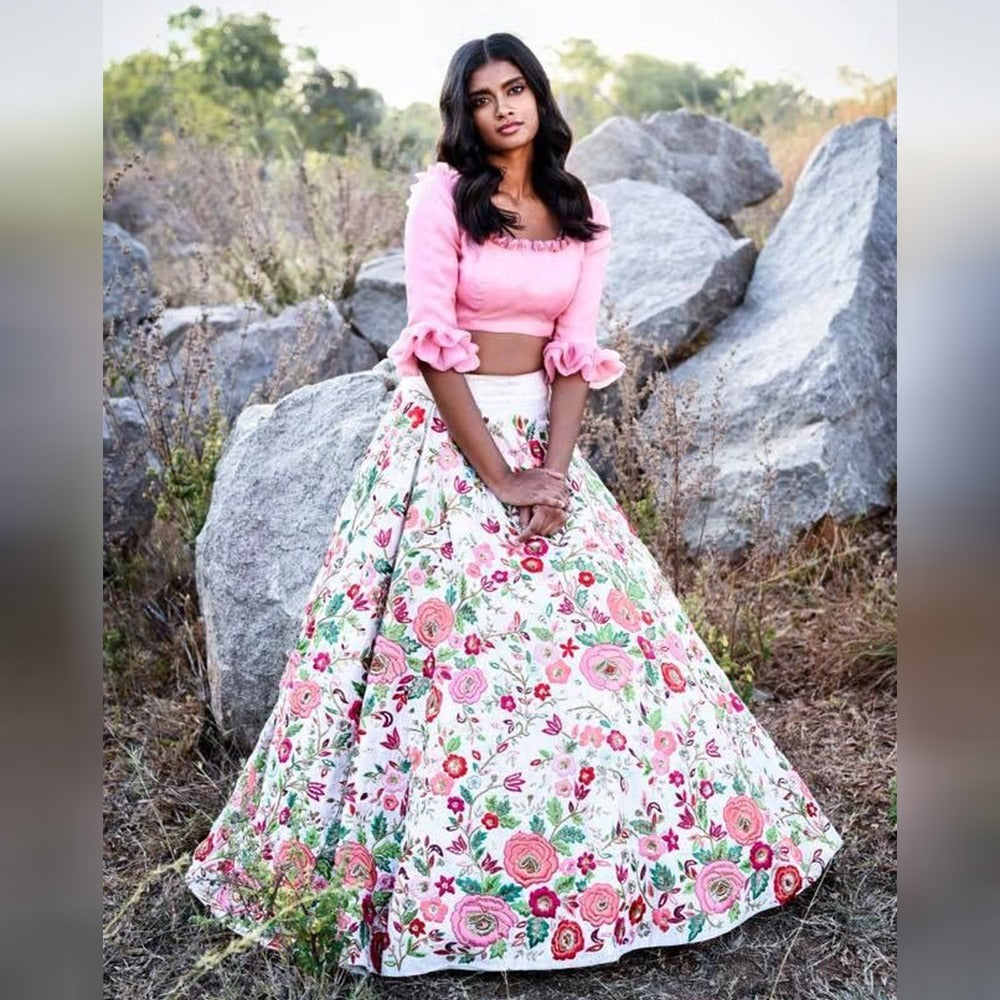 48c7346494b004 White Floral Printed Crop Top Latest Indian Party Lehenga Online