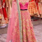 Heavy Embroidery Work Pink Bollywood Wedding Lehengas