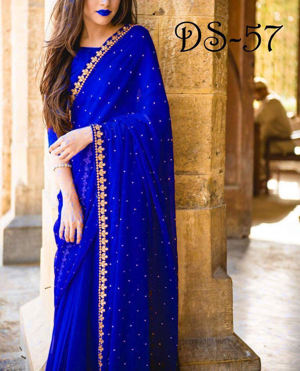 Blue Georgette With Pearl Sarees Online Shopping Low Price