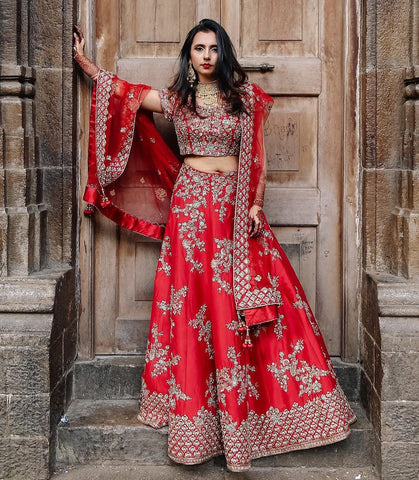 Red Embroidered Silk Wedding Wear Indian Dresses Lehenga Cholis Online