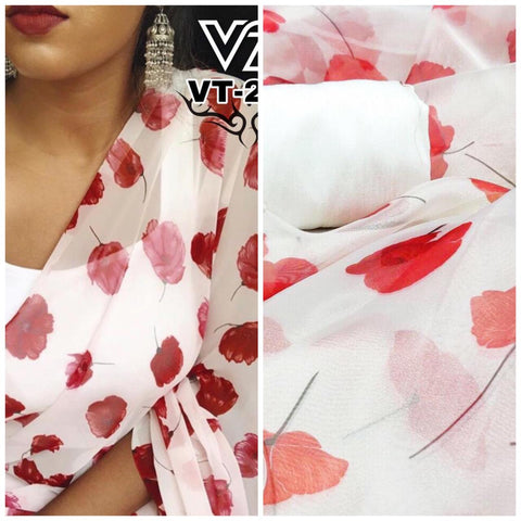White Red Floral Print Organza New Fashion In Sarees India Online