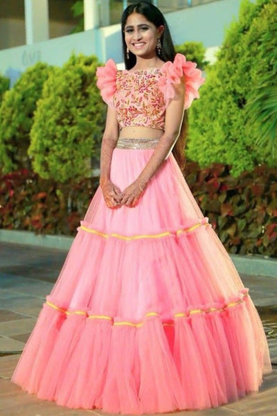 Charming Pink Net Three Layers Crop Top Fashion Lehenga Choli