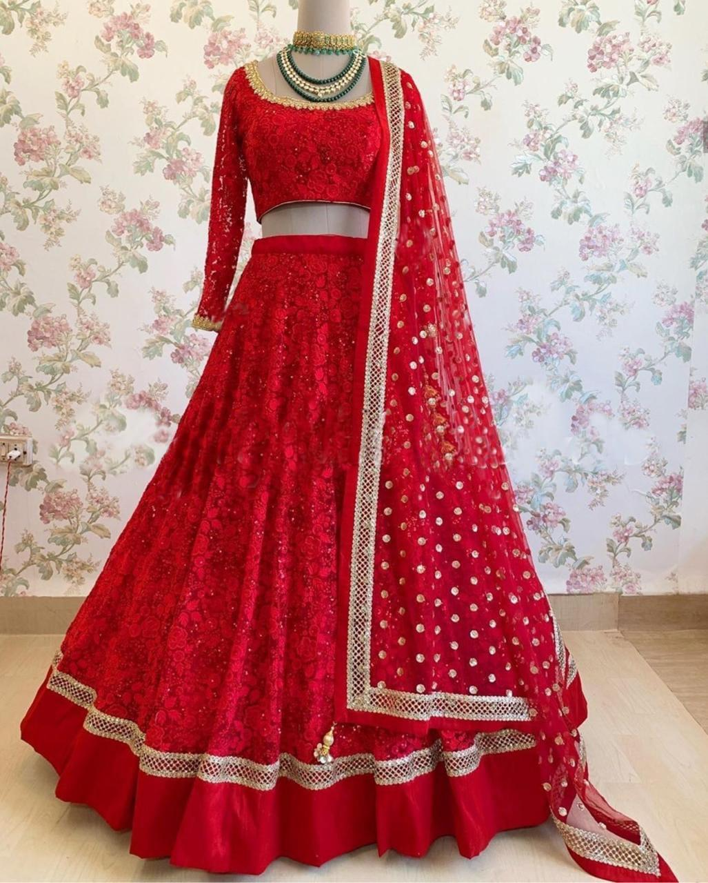 Red Georgette Embroidered Party Lehnga Choli Online Shopping